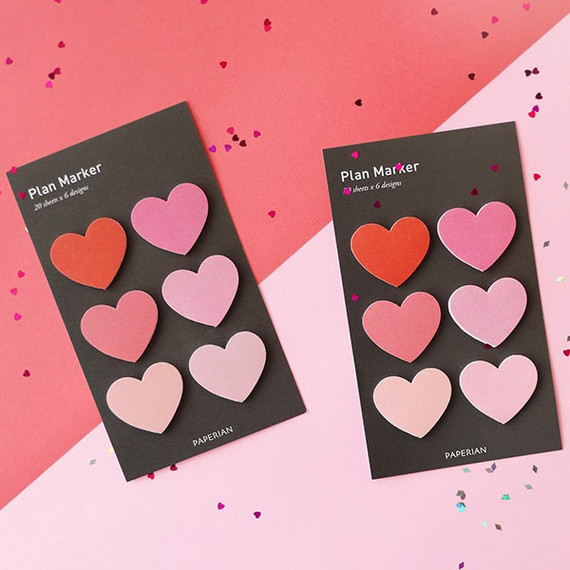 PAPERIAN Heart small sticky notes memo notepad for planner