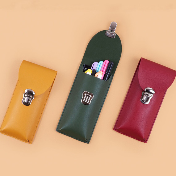Rihoon Retro satchel buckle PU pencil case