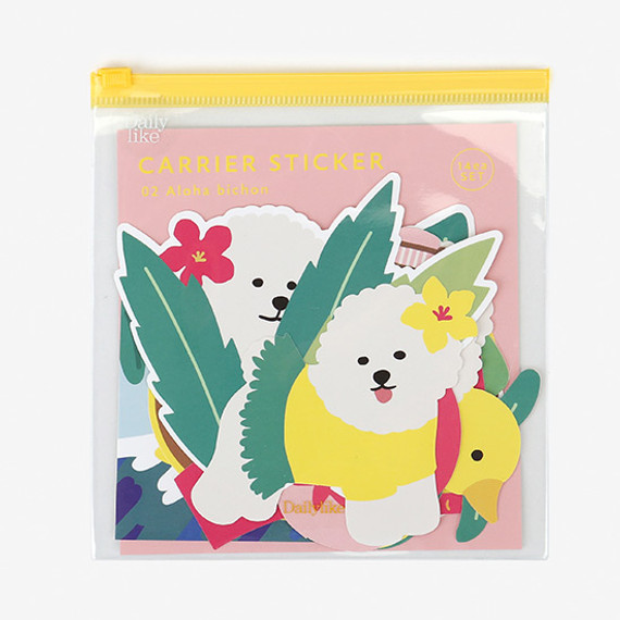 Dailylike Aloha bichon PVC luggage deco sticker pack with zip pouch