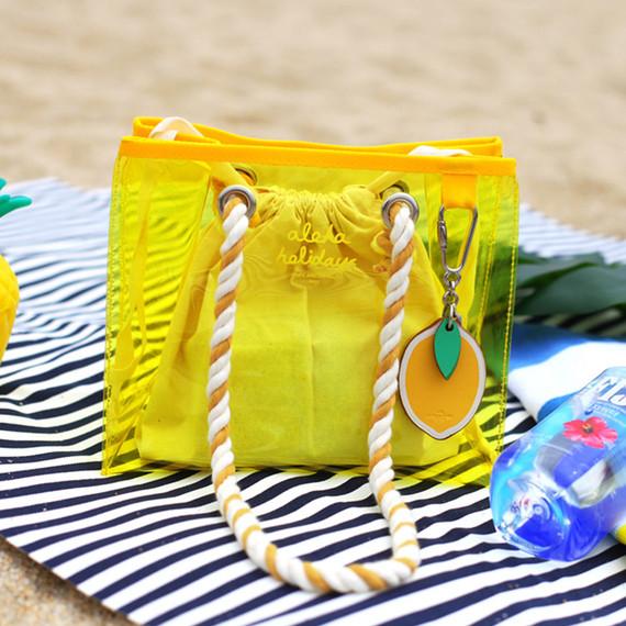 2NUL Aloha holidays yellow small beach shoulder bag