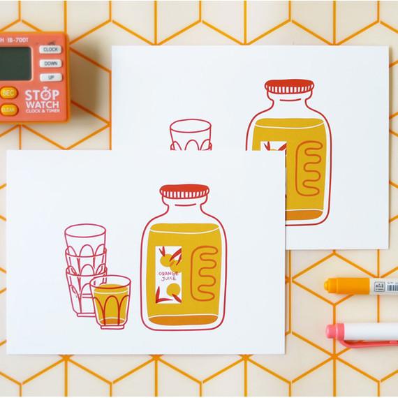 Jam Studio Orange juice message card with envelope