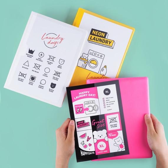 Rihoon Neon laundry hardcover 6-ring grid notebook