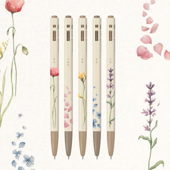MONAMI 153 flower knock retractable ballpoint pen set