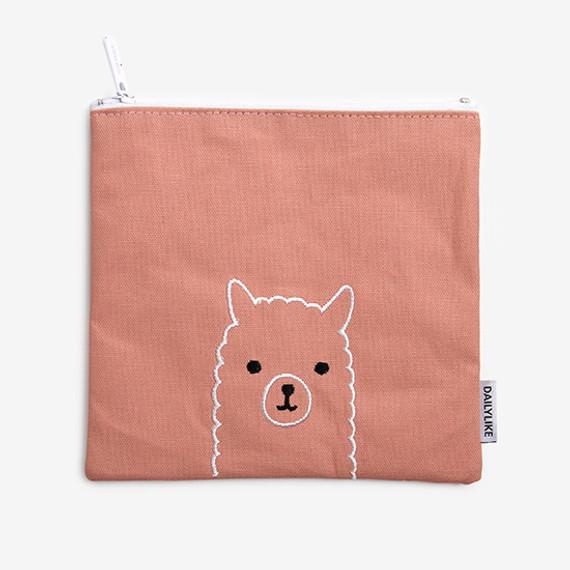 Dailylike Embroidery rectangle fabric zipper pouch - Alpaca