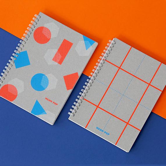 Indigo Neon pop spiral bound dateless weekly planner