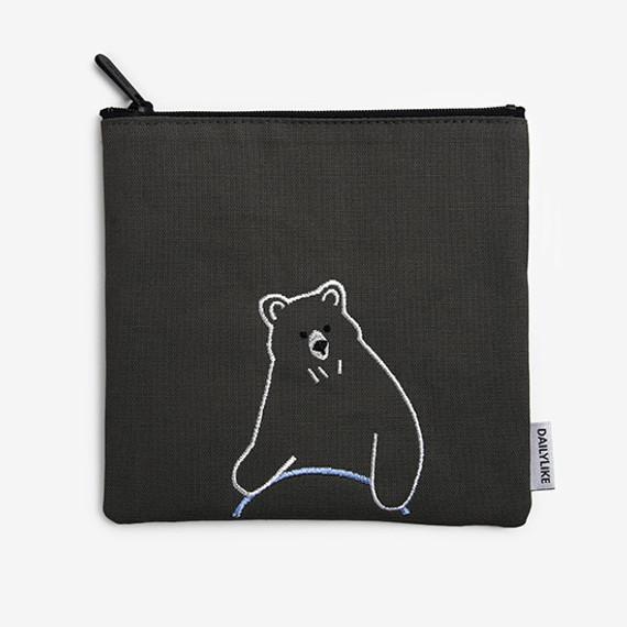 Dailylike Embroidery rectangle fabric zipper pouch - Hula hoop bear