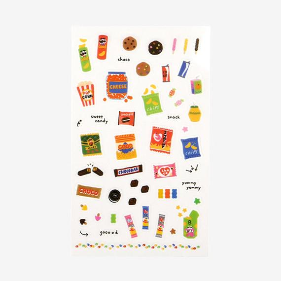 Daily transparent deco cute sticker - Snack
