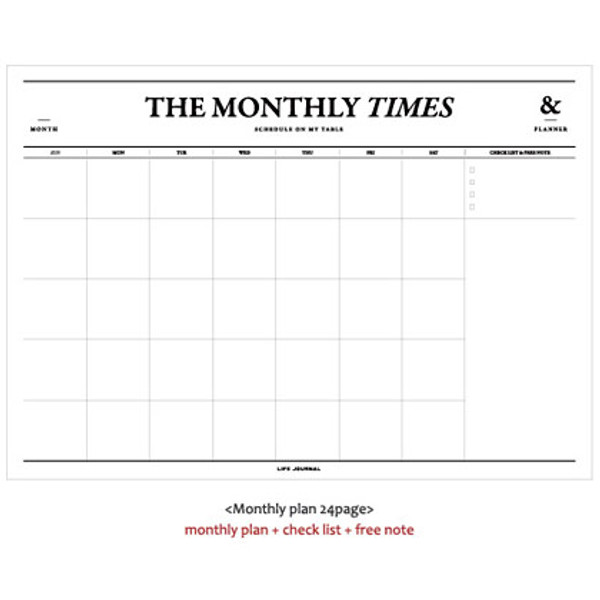 seeso the monthly times planner desk notepad 50 sheets