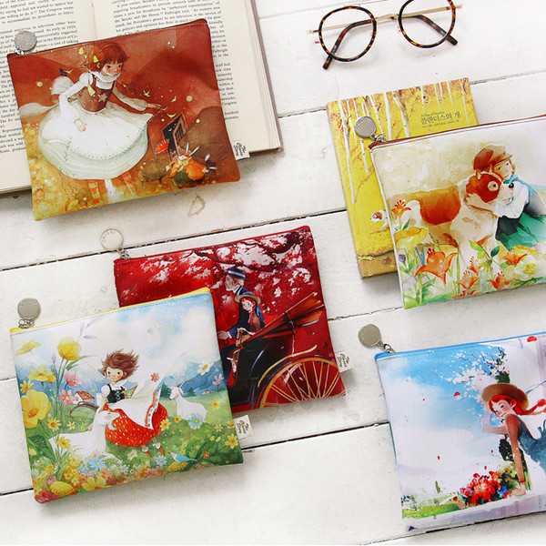 Indigo Classic story fairy tale flat zipper pouch