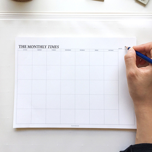 seeso the monthly times desk planner notepad with a zip lock pouch