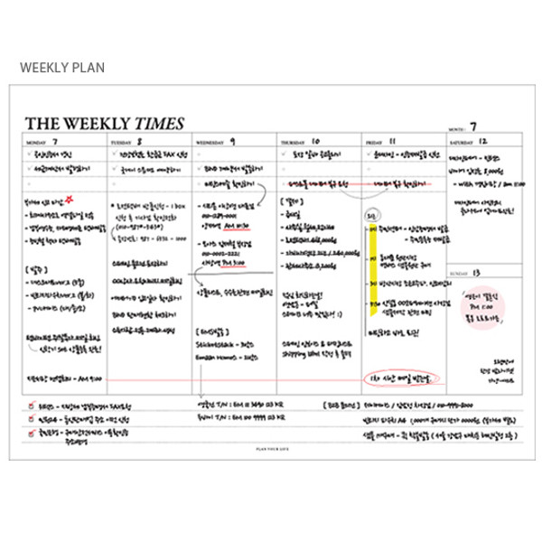 seeso the weekly times desk planner notepad with a zip lock pouch