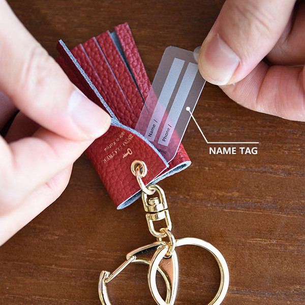 Holiday cowhide leather tassel key ring key chain