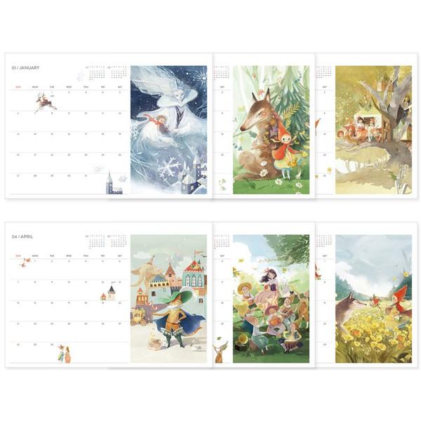 monthly calendar indigo 2019 fairy tales coloring desk calendar