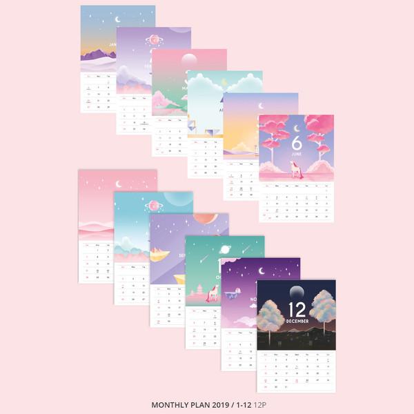 2019 Moonlight standing monthly desk calendar