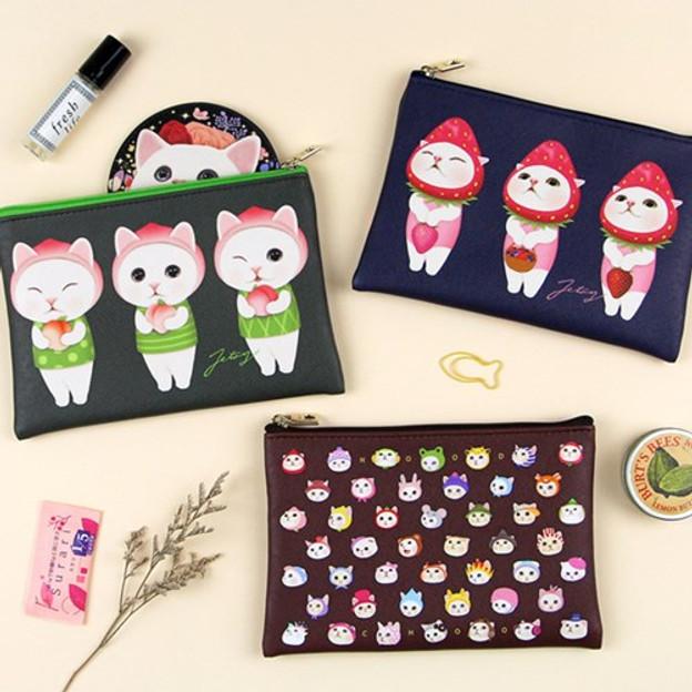 Choo Choo cat pattern slim zipper pouch