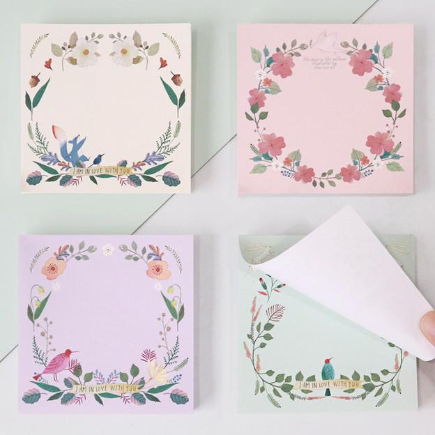 Indigo Willow flower pattern memo notepad