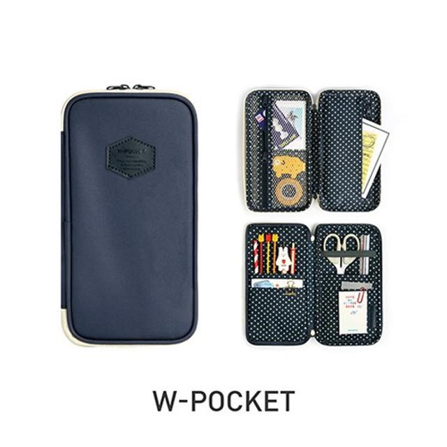 Monopoly W double pockets zipper pencil case pouch