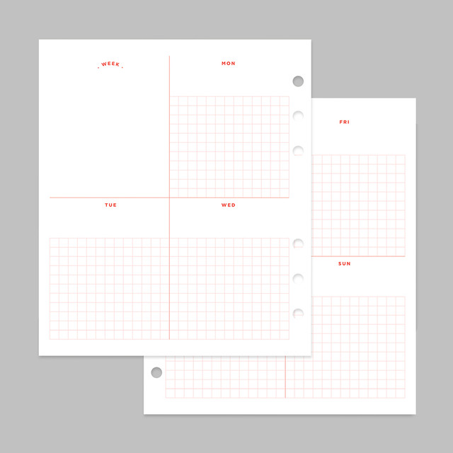 2NUL Cherry pick 6-ring planner weekly plan refill