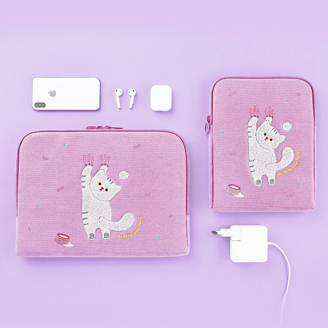 Milk cat boucle canvas iPad laptop sleeve pouch case