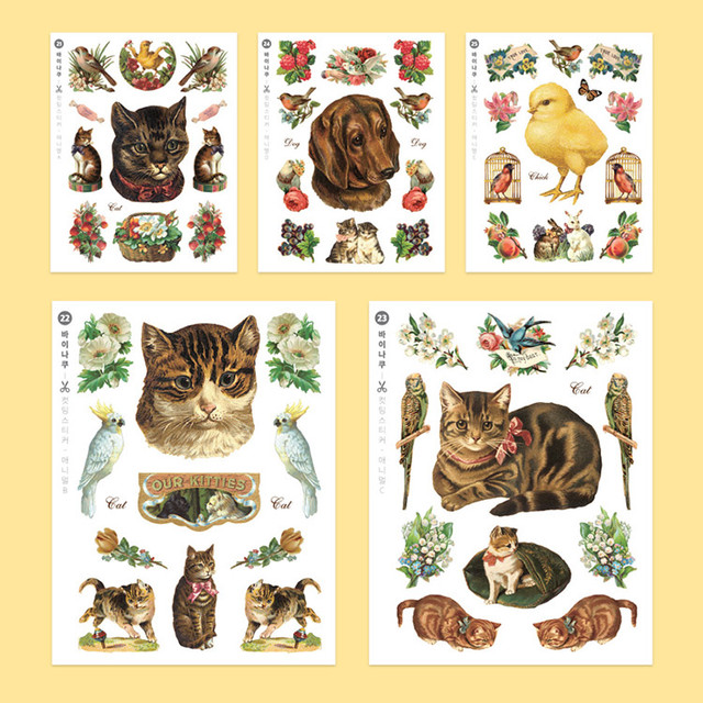 Animal self-cut paper and clear sticker set