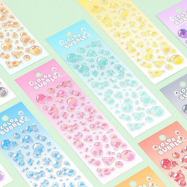 Wanna This Color Bubble Holographic Clear Sticker