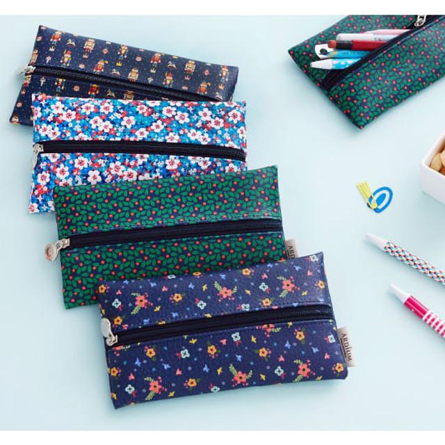 Pattern middle zipper slim pouch