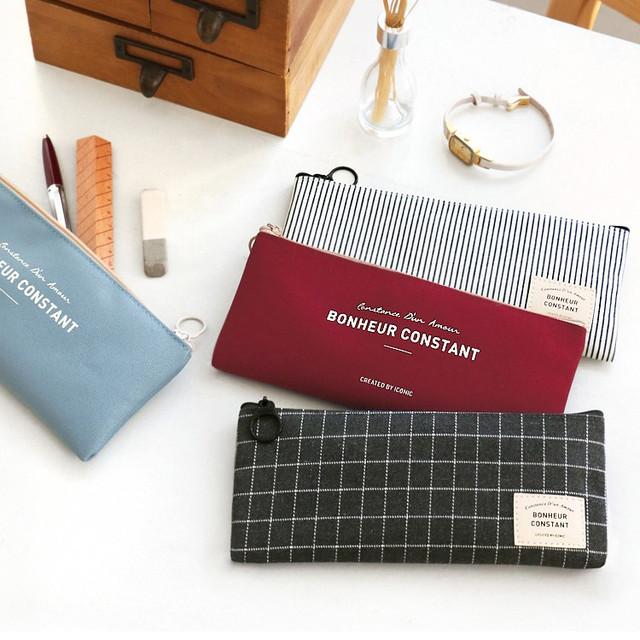 Basic coated cotton zipper pen pencil case