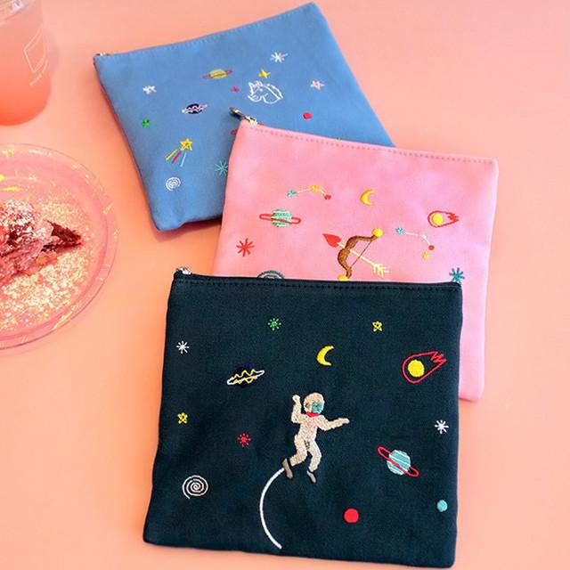 In space medium cotton zipper pouch