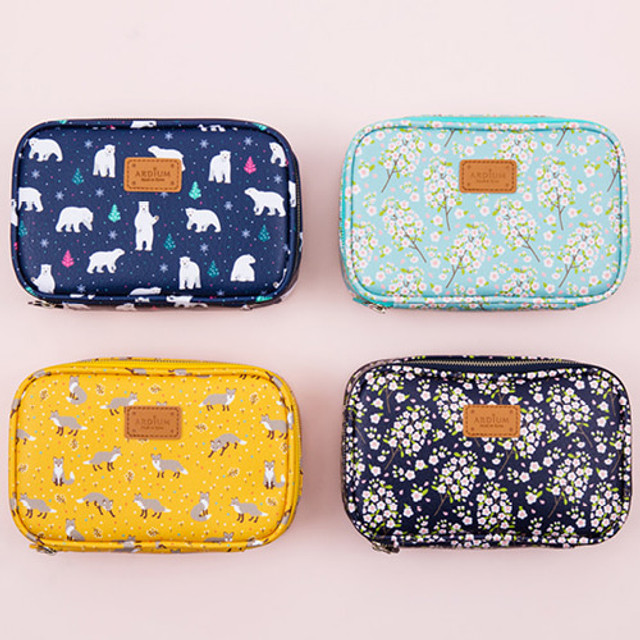 Pattern cube zip around multi pouch