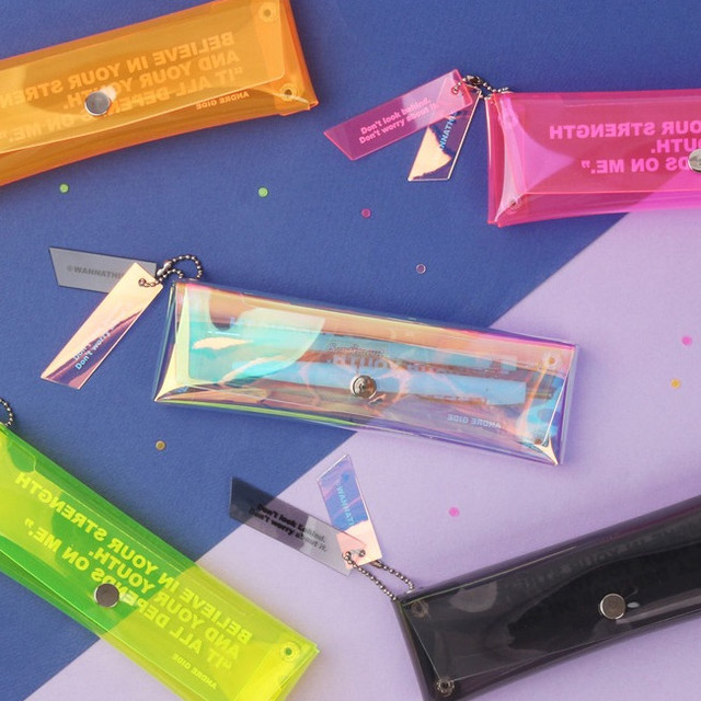 Wanna This Clear pocket folding pencil case pouch