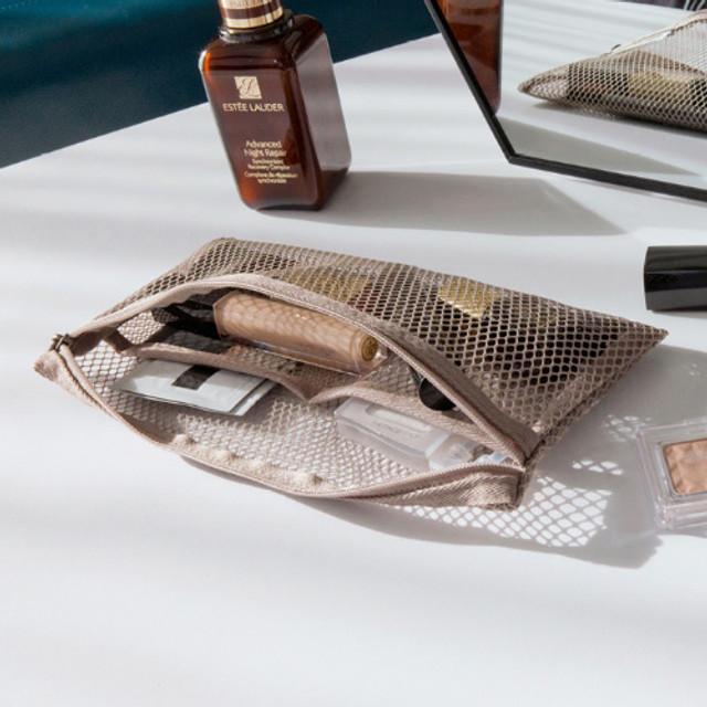 Beige - Byfulldesign Travelus slim long mesh pouch ver4