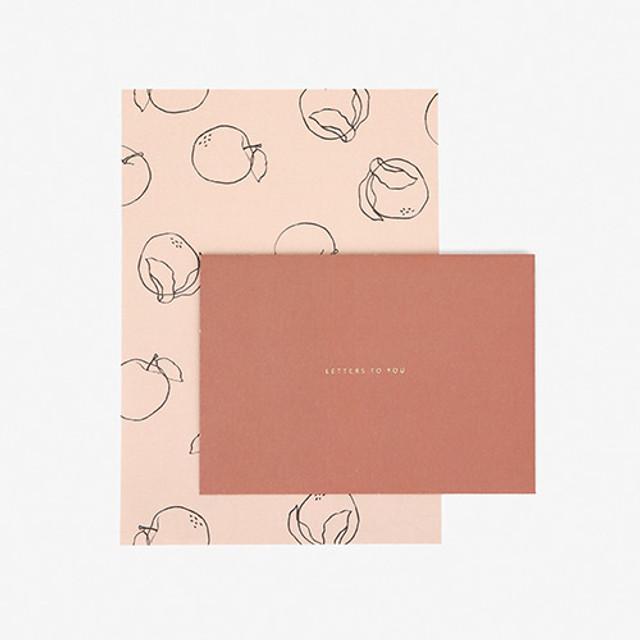 Dailylike Daily letter paper and envelope set - Plain apple