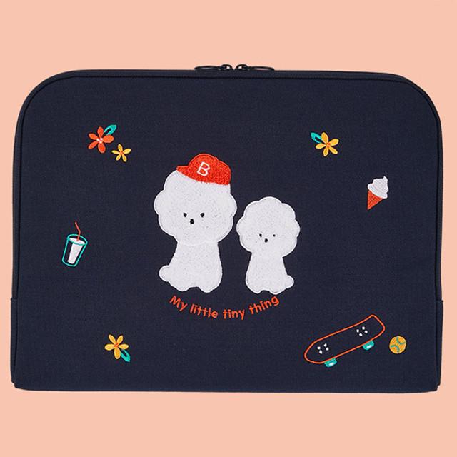 Bichon Frise boucle canvas iPad laptop pouch case