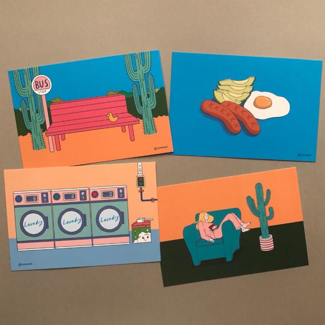 CommaB retro illustration postcard