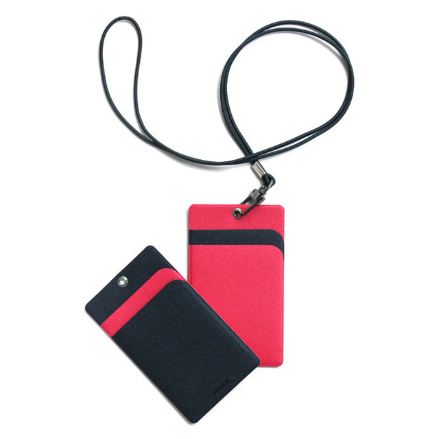 Fenice Premium PU business pocket card case with neck strap
