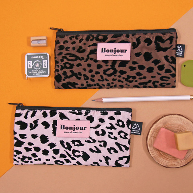 Second Mansion Bonjour leopard zipper pencil pen case pouch