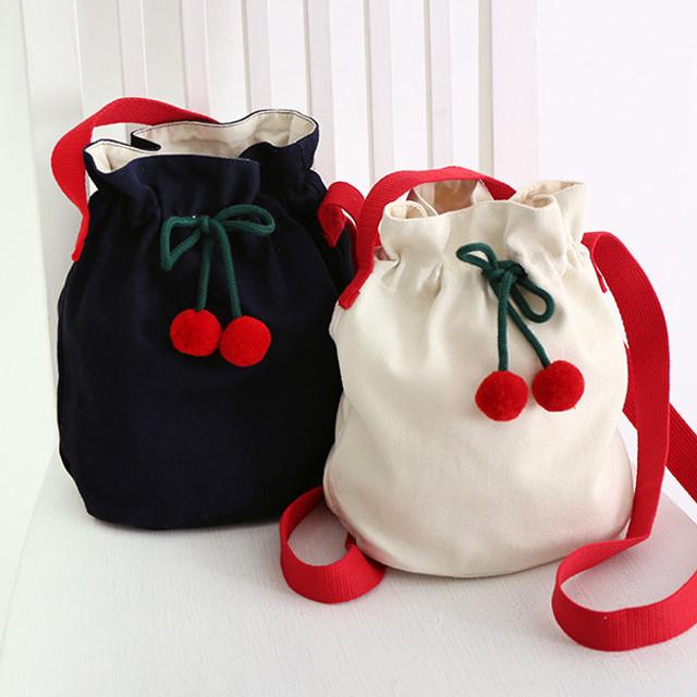 ROMANE Cherry cotton crossbody bucket bag