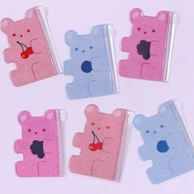 Jelly bear party small clear zip lock pouch
