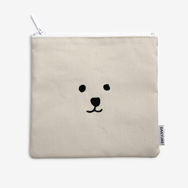 Dailylike Embroidery rectangle fabric zipper pouch - Face