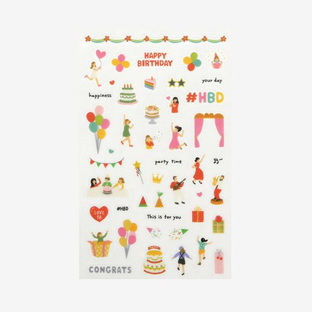 Daily transparent deco cute sticker - Birthday