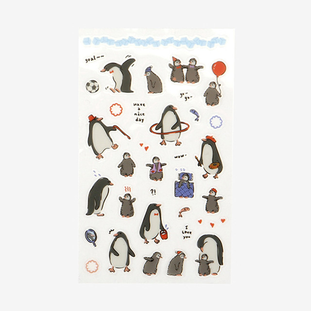 Dailylike Daily transparent deco cute sticker - Penguin