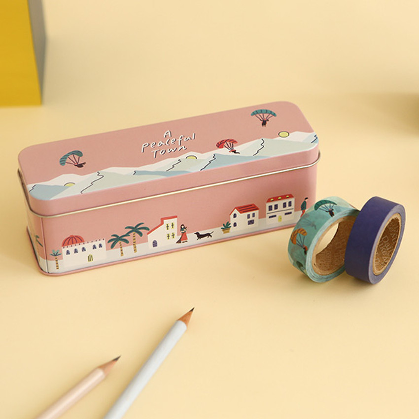 Dailylike A peaceful town 10 masking tapes set with tin case