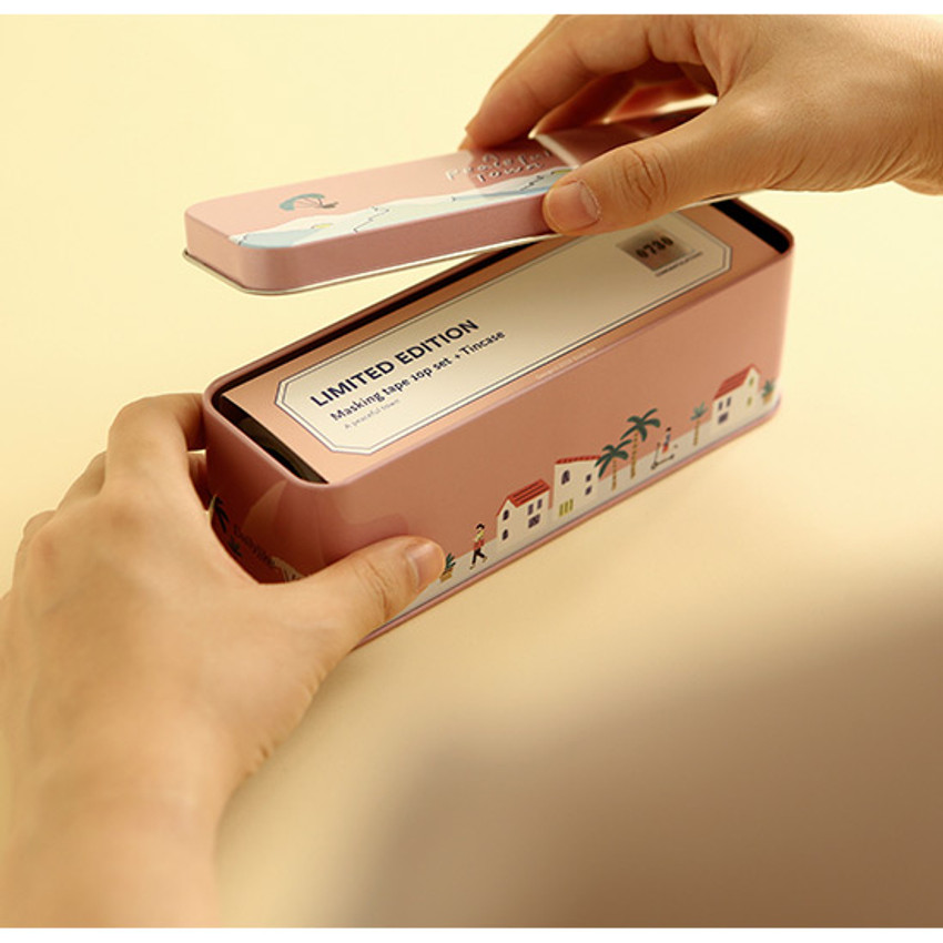 Usage example - Dailylike A peaceful town 10 masking tapes set with tin case