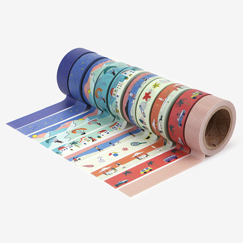 10 Masking tapes - Dailylike A peaceful town 10 masking tapes set with tin case