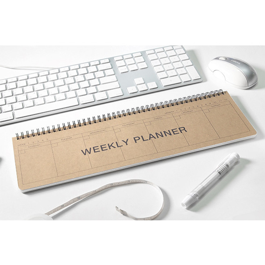 Karft - 2young Wirebound kraft long dateless weekly desk planner