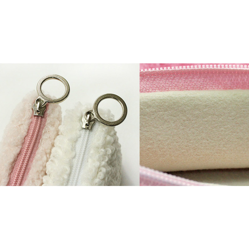 Detail of With Alice Bichon Frise slim square zip pouch