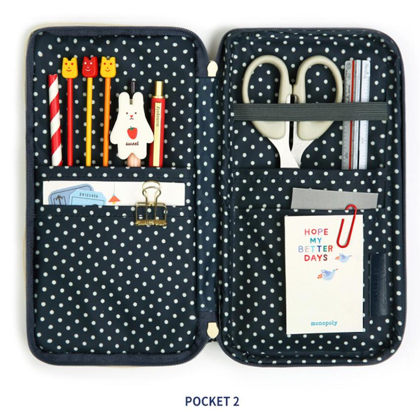 2 main compartment - Monopoly W double pockets zipper pencil case pouch