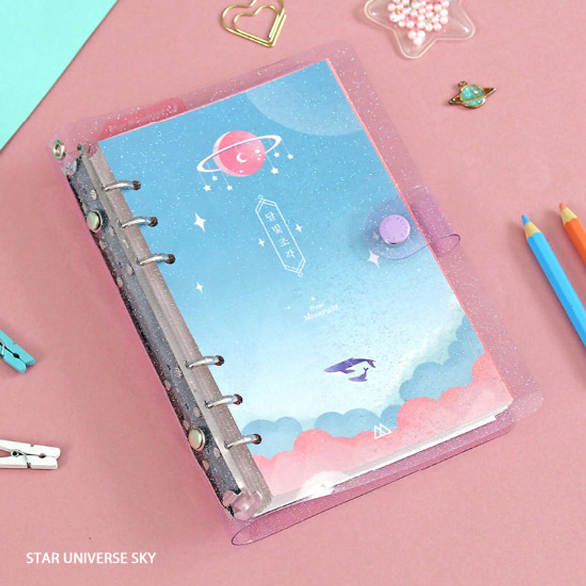 Star universe sky - Twinkle moonlight A6 6 ring dateless weekly diary planner