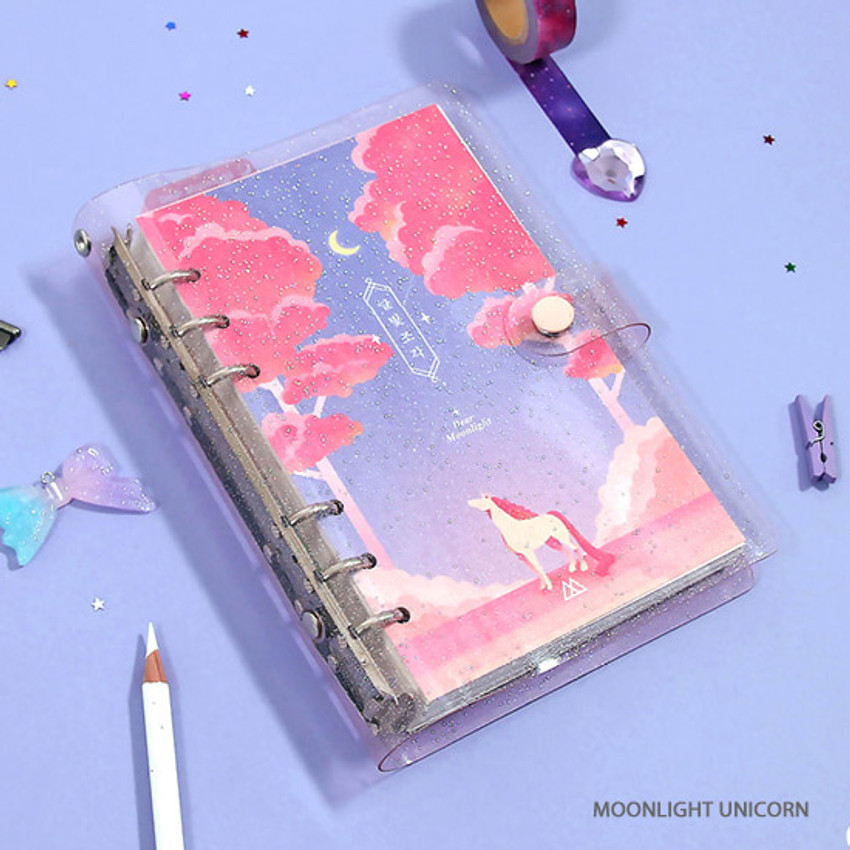 Pink unicorn - Twinkle moonlight A6 6 ring dateless weekly diary planner