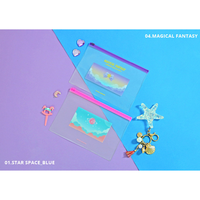 Star space_blue, Magical Fantasy - Second Mansion Retro mood clear PVC zip slide pouch